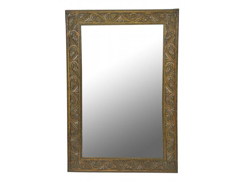 Zrcadlo v rámu z teakového dřeva,ručně vyřezávané, 55x3x82cm