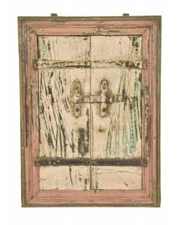 Stará okenice z teakového dřeva se zrcadlem, 50x5x71cm