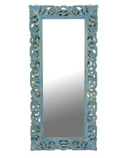 Tyrkysové ručně vyřezávané zrcadlo z mangového dřeva, 60x4x130cm