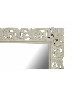 Bílé ručně vyřezávané zrcadlo z mangového dřeva, 90x4x120cm