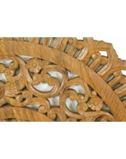 Ručně vyřezaná mandala z mangového dřeva, hnědá, průměr 120cm