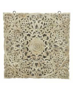 Ručně vyřezaná mandala z mangového dřeva, 120x5x120cm
