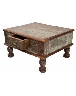 Stoleček se šuplíkem z teakového dřeva, 54x46x30cm