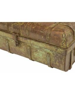 Plechový kufr, staré příruční zavazadlo, 60x35x22cm