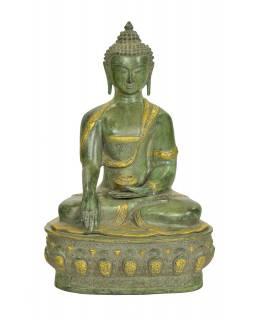 Buddha Šakjamuni, antik zelená patina, mosaz, 35x30x52cm
