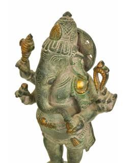 Ganéš, mosazná socha, 10x10x24cm