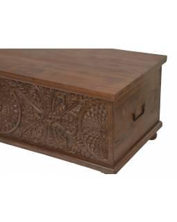 Truhla z mangového dřeva zdobená ručními řezbami, 150x60x50cm