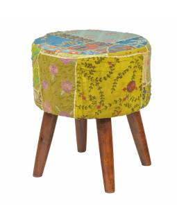 Sedátko, čalounění, teak, 43x43x50cm