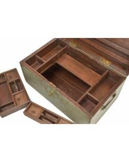 Stará truhlička z teakového dřeva, 49x30x27cm