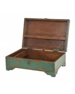 Stará truhlička z teakového dřeva, 57x31x25cm