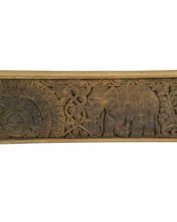 Vyřezávaný panel se slony, 152x5x15cm