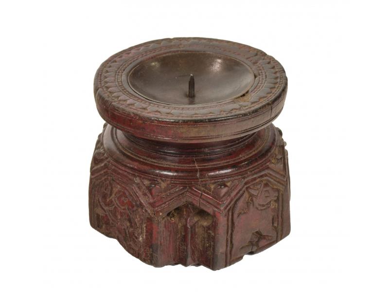 Dřevěný svícen ze starého teakového sloupu, 11x11x10cm