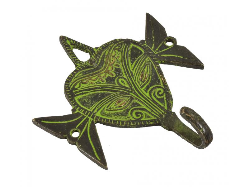 """Věšáček hlava slona, """"Tribal Art"""", zelená patina, mosaz, jeden háček, 11cm"""