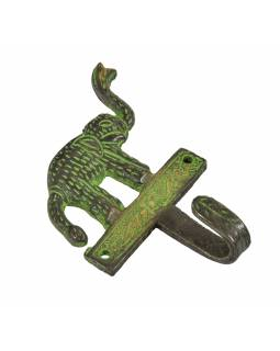 """Věšáček slon, """"Tribal Art"""", zelená patina, mosaz, jeden háček, 12cm"""
