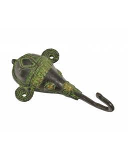 """Věšáček Ganéša, hlava, """"Tribal Art"""", zelená patina, mosaz, jeden háček, 13cm"""