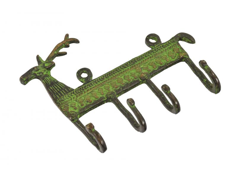 """Věšáček jelen, """"Tribal Art"""", zelená patina, mosaz, čtyři háčky, 16cm"""