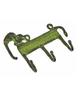 """Věšáček slon, """"Tribal Art"""", zelená patina, mosaz, tři háčky, 14cm"""