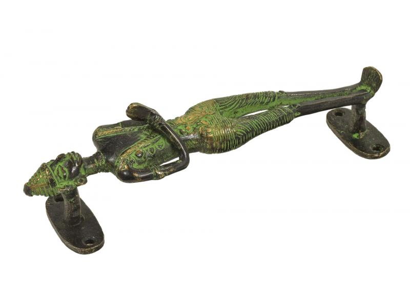 """Dveřní madlo, """"Tribal Art"""", postava, zelená patina, mosaz, 22cm"""