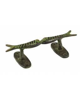 """Dveřní madlo, """"Tribal Art"""", zelená patina, mosaz, 15cm"""