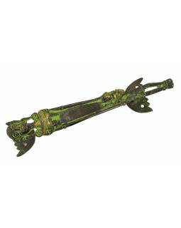 """Dveřní madlo, """"Tribal Art"""", zelená patina, mosaz, 23cm"""
