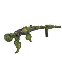 """Dveřní madlo, """"Tribal Art"""", zelená patina, mosaz, 33cm"""