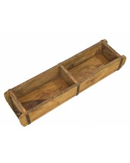Truhlík pod květináč z teakového dřeva, původně forma na cihly, 60x15x9cm