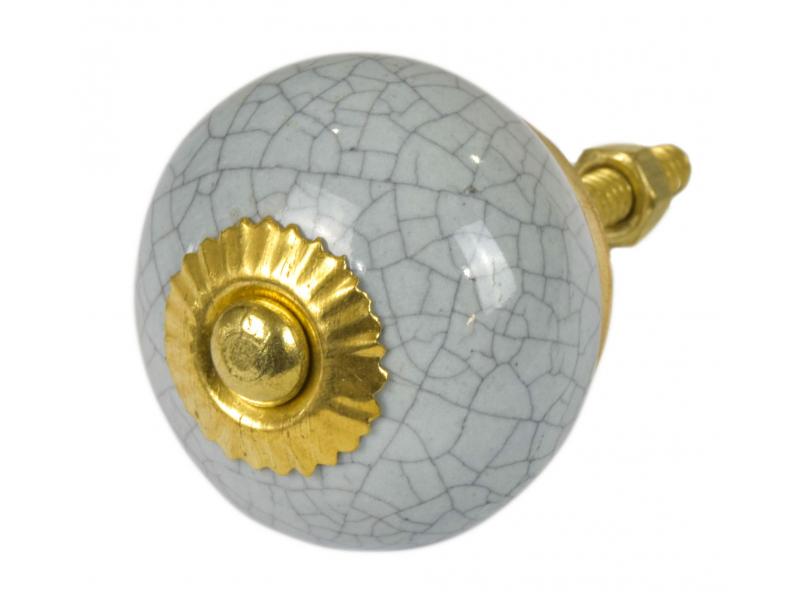 Malovaná porcelánová úchytka na šuplík, světle šedá, popraskaný efekt, 3,7cm