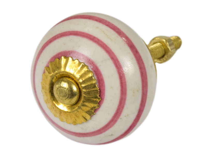 Malované porcelánové madlo na šuplík, bílé, růžové proužky, průměr 3,7cm