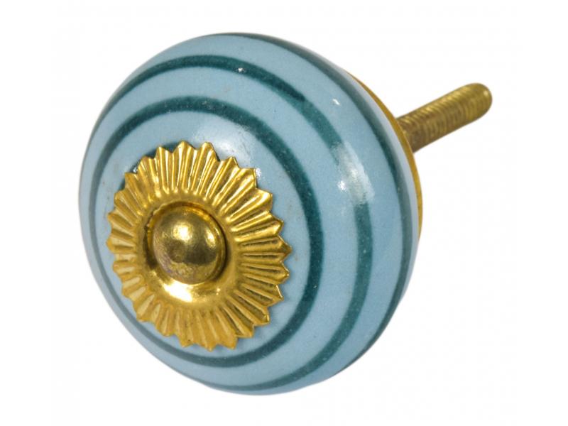 Malovaná porcelánová úchytka na šuplík, modrá, zelené proužky, průměr 3,7 cm
