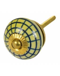 Malovaná porcelánová úchytka na šuplík, světle žlutá, modrá mřížka, 3,7cm