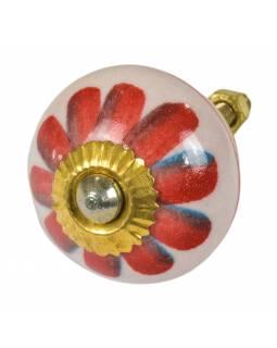 Malovaná porcelánová úchytka na šuplík, krémová, červená květina, 3,7cm