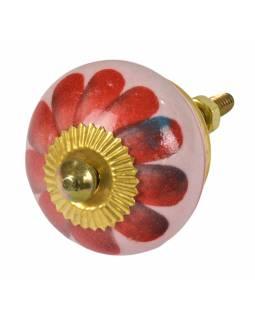 Malovaná porcelánová úchytka na šuplík, světle růžová, červená květina, 3,7cm