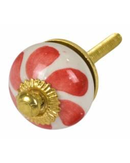 Malovaná porcelánová úchytka na šuplík, bílá, červené lístky, průměr 2,7 cm
