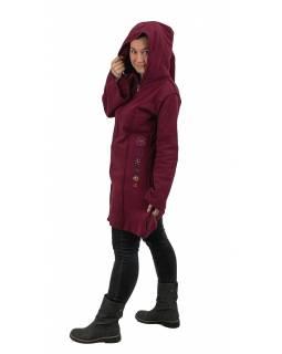 Vínový fleecový kabátek s dlouhou kapucí, zapínání na zip, výšivka