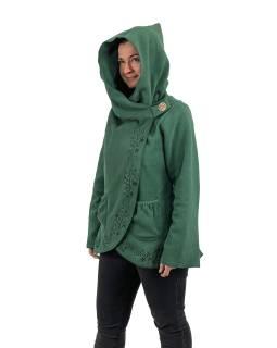Tyrkysový kabát s kapucí zapínaný na knoflík, květinová výšivka