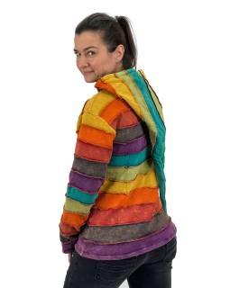 Prodloužená multibarevná mikina se špičatou kapucí, podšívkou, na zip