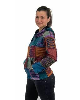 Multibarevná mikina s kapucí, podšívkou, prostřihy na zip