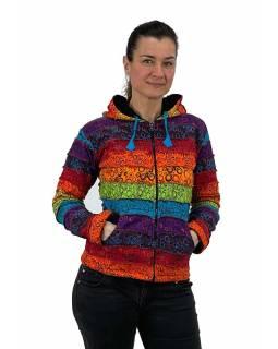 Multibarevná patchworková mikina s kapucí a potiskem, podšitá flísem, kapsy, zip