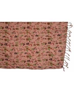 Šátek, bavlna, růžový, tisk květy, mačkaná úprava, třásně, pružný 67až100x162cm