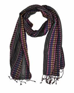 Dlouhý šátek s barevným protkáváním a třásněmi, černý, 48x176cm