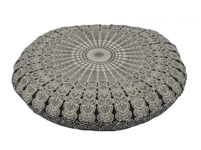 Meditační polštář, kulatý, černo-bílý, 80x10cm