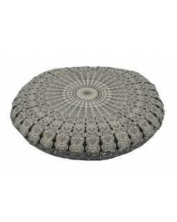 Meditační polštář, kulatý, černo-bílý, 80x20cm