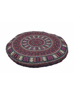 Meditační polštář, kulatý, fialový, potisk slonů, 80x10cm