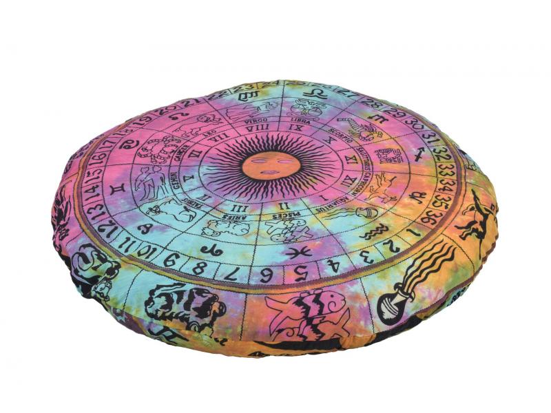 Meditační polštář, kulatý, barevný, potisk zvěrokruh 80x10cm