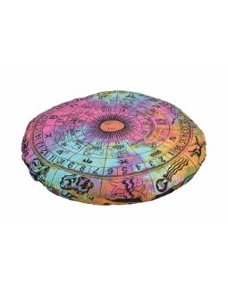 Meditační polštář, kulatý, barevný, potisk zvěrokruh 80x20cm