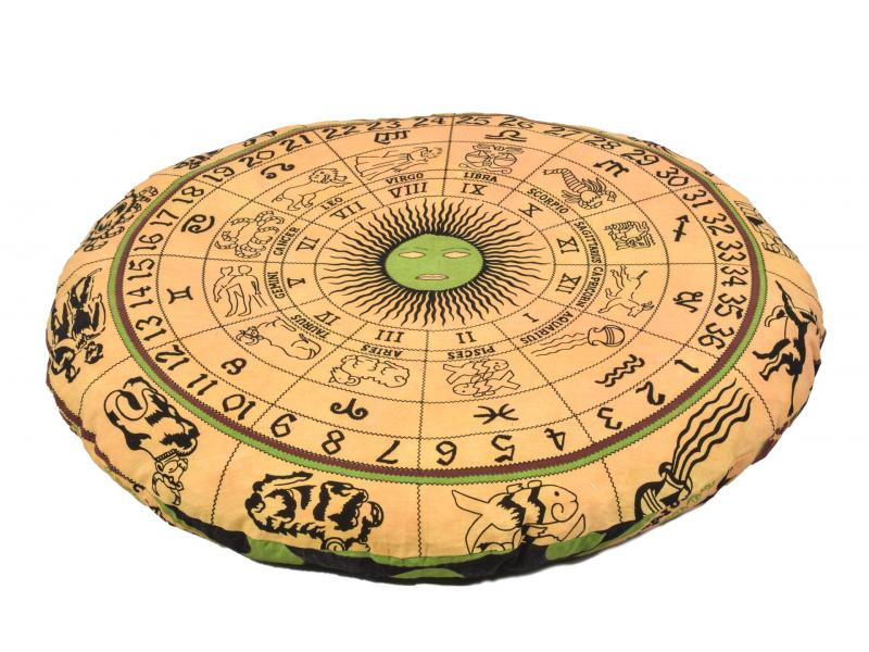 Meditační polštář, kulatý, žlutý, potisk zvěrokruh, 80x20cm
