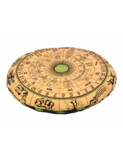 Meditační polštář, kulatý, žlutý, potisk zvěrokruh, 80x10cm