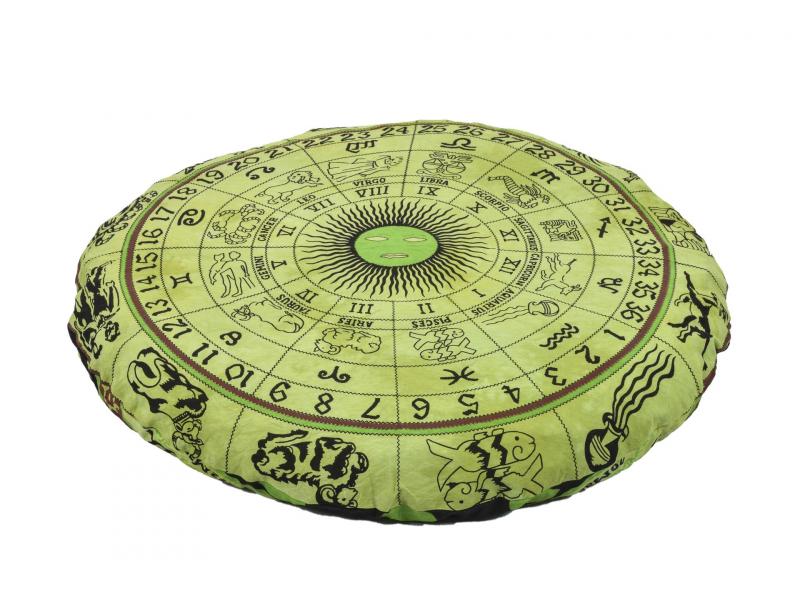Meditační polštář, kulatý, zelený,  potisk zvěrokruh,  80x20cm