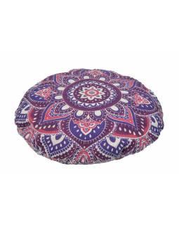 Meditační polštář, kulatý, fialovo-růžová mandala, 80x20cm