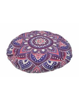 Meditační polštář, kulatý, fialovo-růžová mandala, 80x10cm
